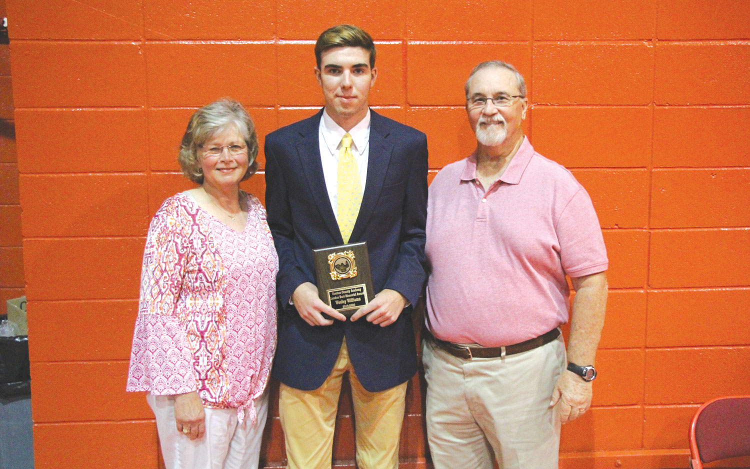 Wesley Williams was presented the Landon Burt Memorial Award, by Coach Bryan and Mary Burt