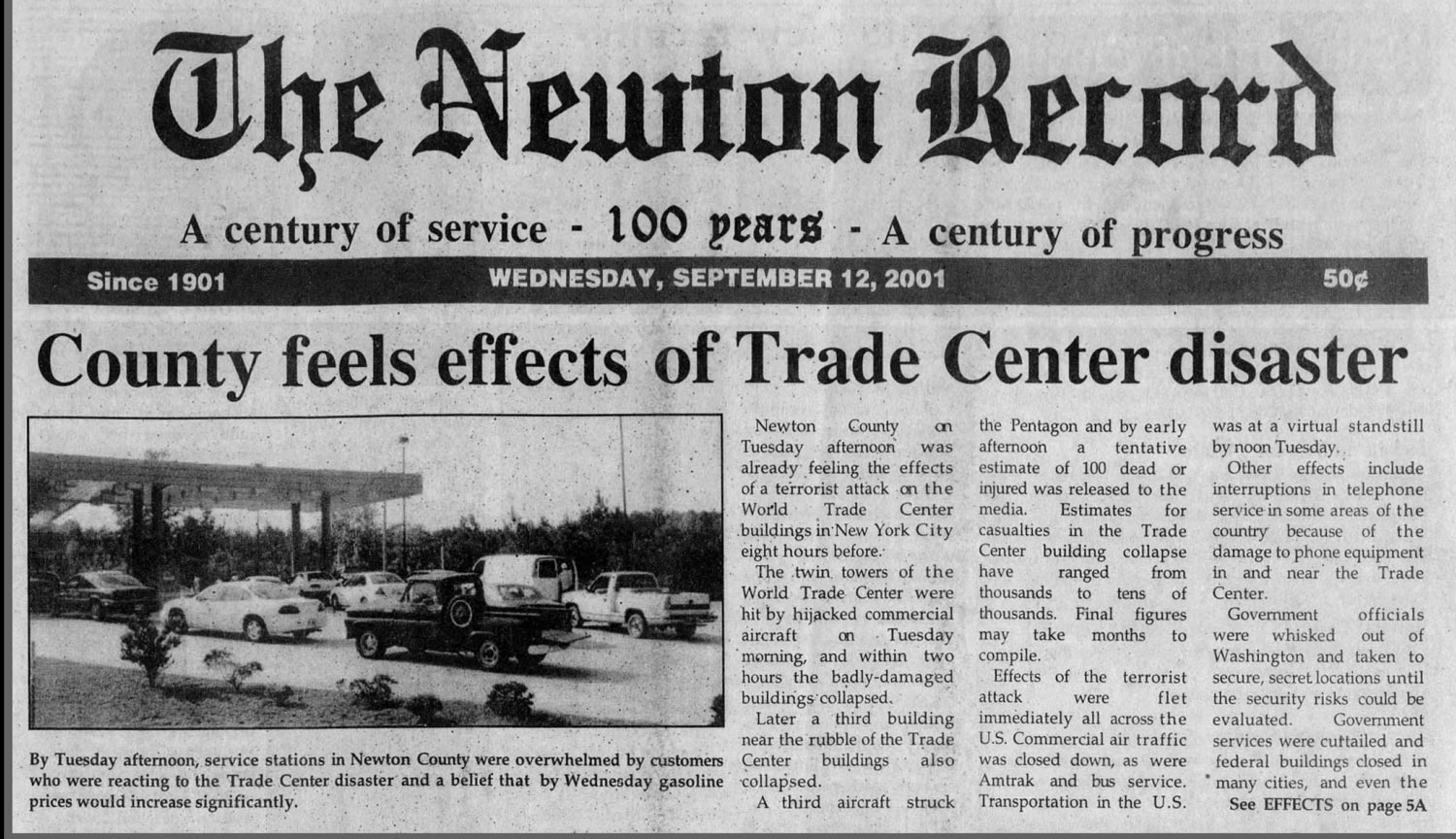 The Newton Record's top story from Sept. 12, 2001