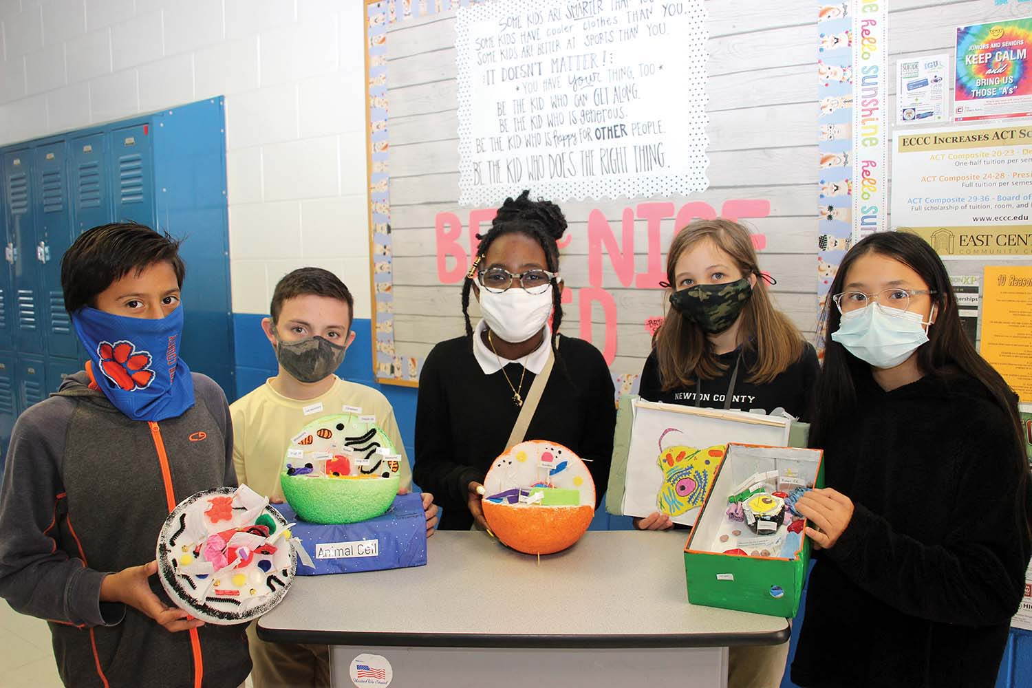 Sixth grade students in Cindy Kitchings' science classes at Newton County Middle School created animal cell models for a class presentation this week from left: Javier Herrera, Landon Stuart, Aoki Leverette, Erica Boykin and Kim Nguyen.