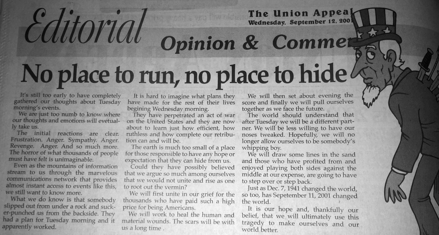The Union Appeal's Editorial from Sept. 12, 2001