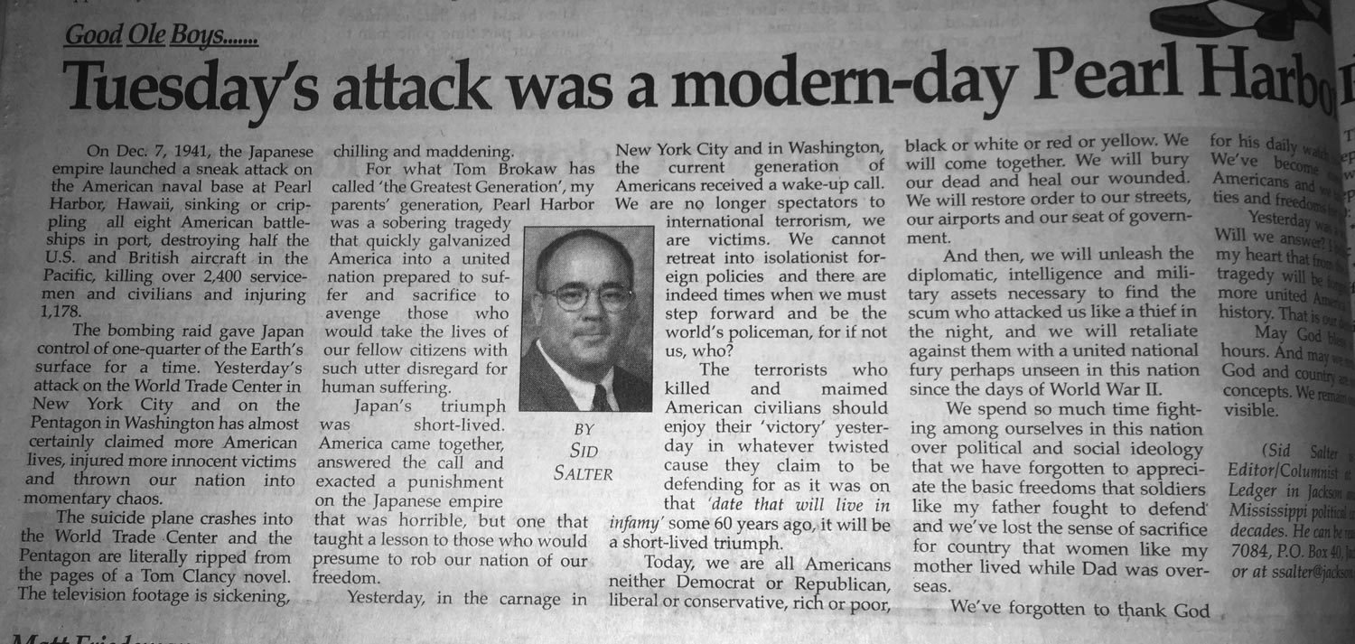 Sid Salter's column from Sept. 12, 2001