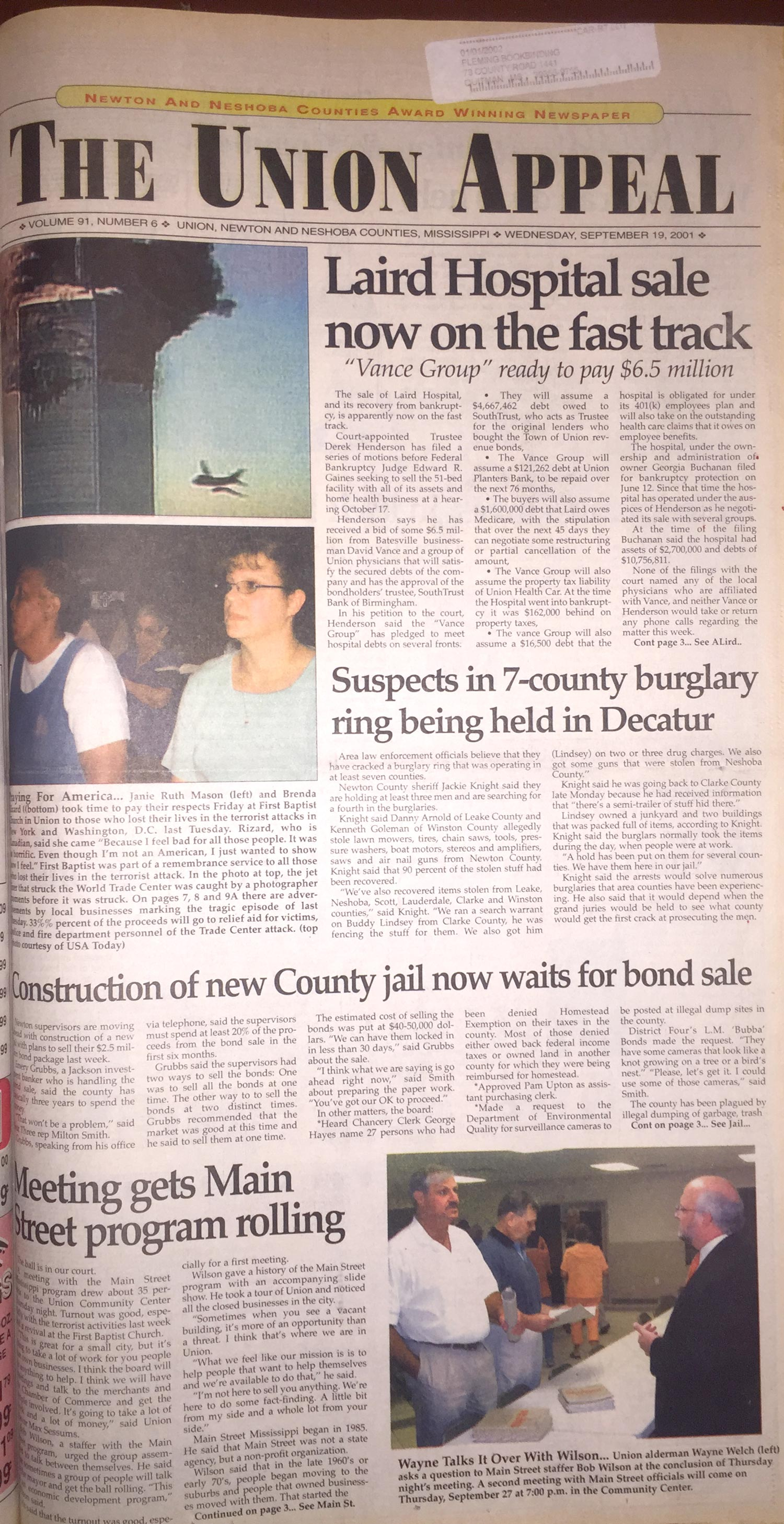 Union Appeal front page for Sept. 19, 2001